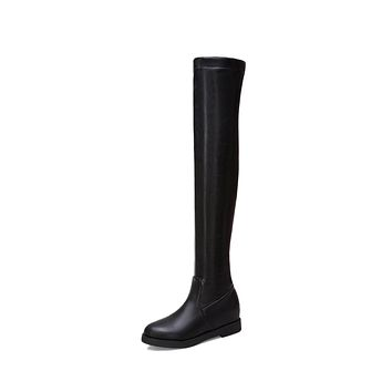 Faux Leather Over the Knee Boots Winter Shoes for Woman 1282
