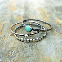 Stacking Rings Set in Antiqued Sterling Silver Featuring Natural Kingman Turquoise - 3 Rustic Stacking Bands with Natural Stone