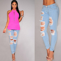 2016 New BF Denim Ripped Jeans for Women Jeans Woman Sexy Hole Casual Slim Pencil High Waist Jeans Mujer Trousers Vaqueros Mujer