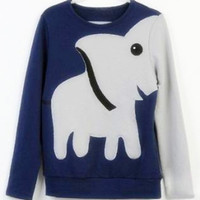 A 071023 Fun elephant pattern long-sleeved pullover sweater leisure