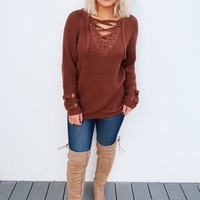The Perfect Lace Up Sweater: Chocolate