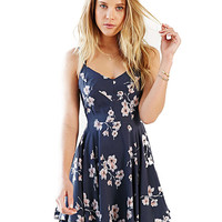 Floral Print Strappy Back Chiffon Dress