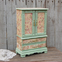 Jewelry Armoire, Shabby Chic, Jewelry Box, Sage Green, Pink, Gold, Toile, French, Decoupage, Upcycled, Hand Painted, Large, Tall