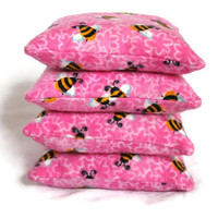 Bean Bags Bright Pink Bumble Bees Flannel Yellow White Black Girl's Toy 3.5 inches Square (set of 4) US Shipping Included