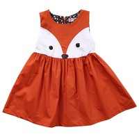 Casual Cotton Baby Girls Toddler Kids Sleeveless Fox Dress Party Wedding Tutu Dresses 1-5Y