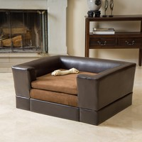 Rover Midsize Chocolate Brown Leather Dog Sofa Bed