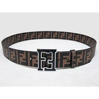 Fendi Men Fashion Smooth Buckle Belt Leather Belt