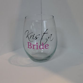 Personlized Stemless Bridal Party Wine Glass