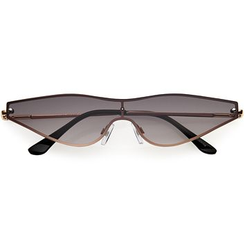 Sleek Shield Lens Metal Micro Cat Eye Sunglasses D194