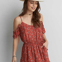 AEO Printed Cold Shoulder Romper, Rust