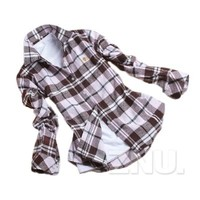 ZNU Women's Lapel Campus Casual Plaids Shirts Slim Fit Flannel Charming Tops Blouses Medium Light Coffee