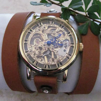 Stainless Steel Manual-Winding Semi-Automatic Mechanical Gold Watch. 20% Off - 79 Dollars Only. Xmas Gift FREE SHIPPING