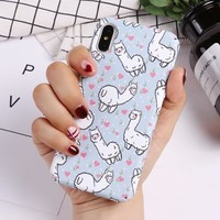 TOMOCOMO Cute Lama Alpaca Animals Cartoon Matte Luminous Emboss Hard Phone Case For iPhone 6 6S 6Plus 7 7Plus 8 8Plus