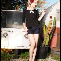 Sailor Top in Black from Pinup Couture | Pinup Girl Clothing