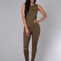 Spur of the Moment Jumpsuit - Olive