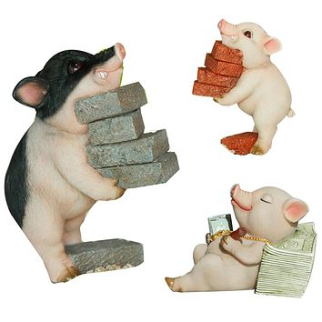 Lovely Moving Brick Reading Book Pig Ornament Home Desktop Decor Resin Craft