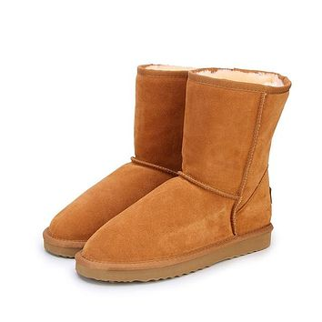 MBR FORCE Classic Genuine Cowhide leather  snow boots 100% Wool Women Boots Warm winter shoes for women large size 34-44