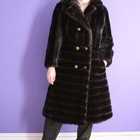 Vintage 1970's long brown faux fur coat with gold buttons