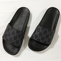 Hipgirls GUCCI New fashion more letter print flip flop slippers shoes Black
