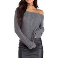 Charcoal Basic Off The Shoulder Sweater