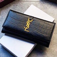 YSL New fashion leather wallet purse handbag Black
