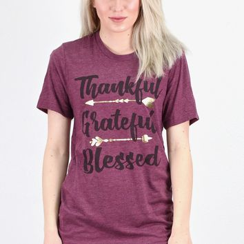 Thankful, Grateful, Blessed Crew Neck Tee {Maroon} - Size LARGE