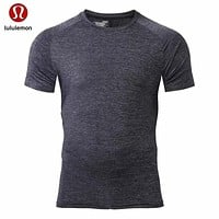 """lululemon"" Men = elastic breathable sports fitness short sleeves"