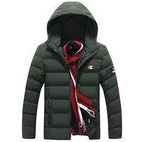Champion winter men's new trend trend hooded jacket thick down cotton clothing Green