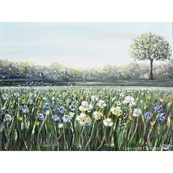 """""""A Place of Peace"""" ORIGINAL Art Floral Landscape Painting White Flowers Field Tree 40x30"""""""