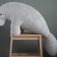 Manfred Manatee, big plush, very soft light grey manatee plushie, made to order