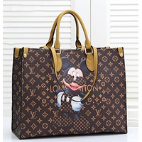 LV vintage old flower lattice Disney Mickey print large shoulder bag handbag