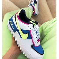 Bunchsun NIKE Air Force 1 Shadow Trending Women Casual Sport Running Shoes Sneakers Blue&Yellow