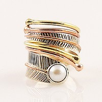 Pearl Sterling Silver Adjustable Three Tone Wrap Ring