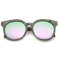 Oversize Marble Print Mirror Lens Round Sunglasses - Shop Jeen - powered by Hingeto