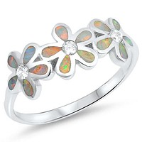 A Perfect Opal Plumeria Wedding Band Promise Ring