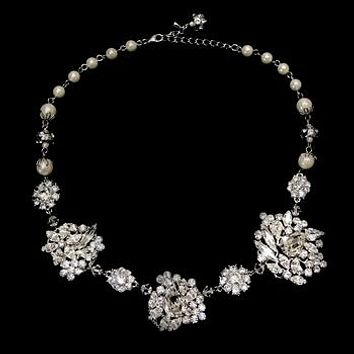 Beautiful Vintage Rhodium Ivory Pearl Floral Necklace
