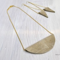 Contemporary jewelry set, Fashion jewelry set,Eco friendly jewelry set, Necklace and earrings set, Leather jewelry set