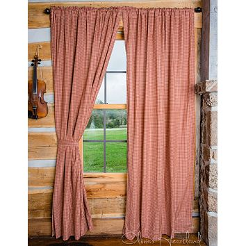 Burgundy and Tan Checkered Panel Curtains