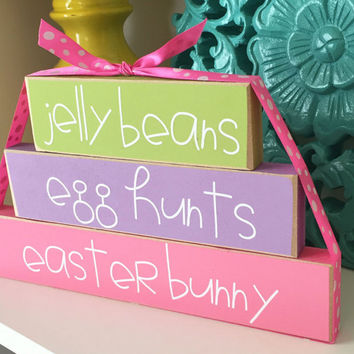 Easter Stackers- Easter Decor, Spring Decor, Holiday Wood Stackers, Easter Wood Blocks, Spring Wood Blocks,