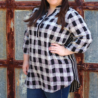 In Check Stripes Blouse {Curvy}