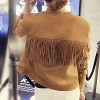 Trendy Chic Bomber Suede Fringed Jacket Slim O-Neck Faux Fur Coat Women Long-sleeved High Waist Single-breasted Pilot Splice Cardigan AT_94_13