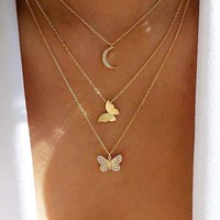 Handmade Freedom Butterfly Moon Triple Chain Necklace