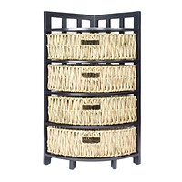 """Wooden Cabinet - 15'.5"""" X 15'.5"""" X 34'.25"""" Gray Wood, MDF, Water Hyacinth Storage Cabinet with Baskets"""
