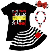 Most Likely Rule The School Outfit Black Stripe Top And Skirt