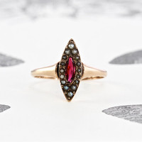 Victorian Ruby Doublet Ring, Antique 14k Gold & Seed Pearl, Dainty Navette Promise Alternative Engagement Bohemian Love Token Statement Ring
