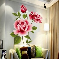 Popular Romantic Love 3D Rose Flower Wall Stickers Removable Decal Home Decor DIY Art Decoration