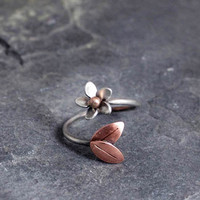 Plumeria Adjustable Ring, Size 7-8 READY TO SHIP, Silver and copper, Hawaiian Frangipani Flower, Spring, Hawaiian Flowers, Gift for Her