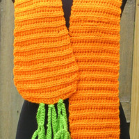 Crocheted Giant Carrot Scarf, Great For Easter, Costumes, Foodies, Fun, Unique, READY TO SHIP