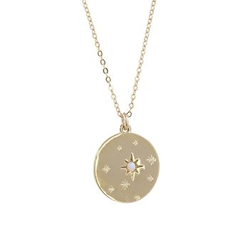 Etched Stars + Opal Disc Pendant Necklace