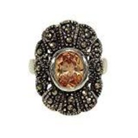 Oval Fan Shape Bold Silvertone Fashion Ring with Bezel Set Champagne Cubic Zirconia and Genuine Marcasite
